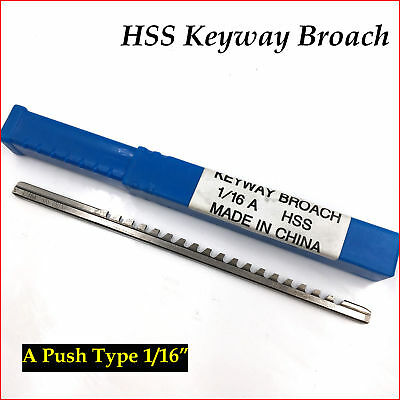 """1/16"""" Keyway Broach A Push Type 1/16 Inch HSS Material CNC Metalworking"""