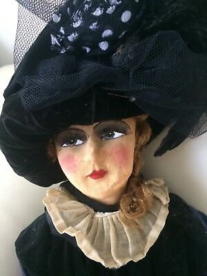 1930s antique french boudoir doll cloth face