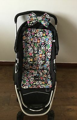 SUGAR SKULLS PRAM LINER PADDED HOOD BOW HARNESS COVERS BUGGY Muertos mexican