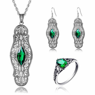 925 Sterling Silver Rings Ring Earing Pendant Chain Green Stone Link Pendants