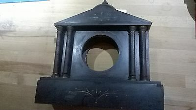 Antique Black Marble Clock Case, with Metal Pillars and Finial.