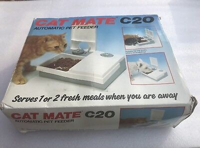 Cat Mate C20 Automatic 2 Meal Feeder Cats & Small Dogs Electronic Feeder Tested
