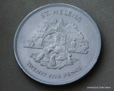 St HELENA UNCIRCULATED 1977 CORONATION SILVER JUBILEE 25P CROWN SIZE COIN #YRF20