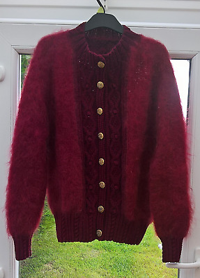 """UNWORN VINTAGE 1980's HAND KNITTED MOHAIR CARDIGAN 42"""" CHEST"""