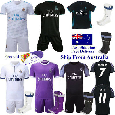 17-18 Home Away Soccer Football Kit Short Sleeve Jersey Kids Boy Team Suit+Socks