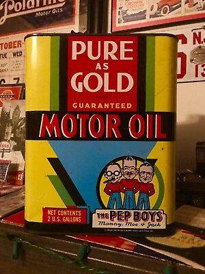 1930s Pep Boys Rare 2 Gallon Motor Oil Can - Tires Signs Pumps Gas Cornell