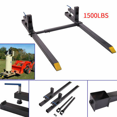 "43"" LW Clamp on Pallet Forks 1500 lbs Capacity w/ Stabilizer Bar Loaders Chain"