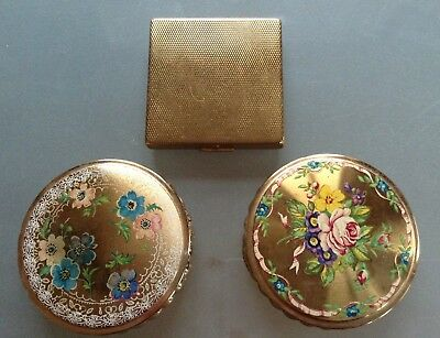 3 Vintage Powder Compacts Mimosa  & unnamed Made in England