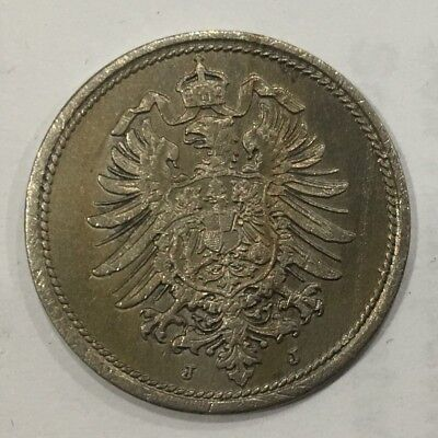 1876 Germany 10 Pfenning Coin Rare