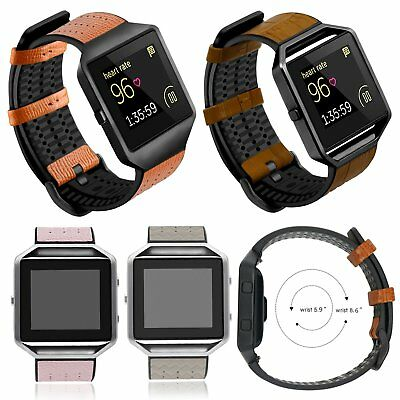 Genuine Leather +TPU Wristband Watch Band Strap for Fitbit Blaze Fitness Tracker