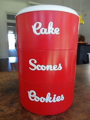 EON WARE  Cannisters - Cakes Cookies Scones. Red and White. RARE.