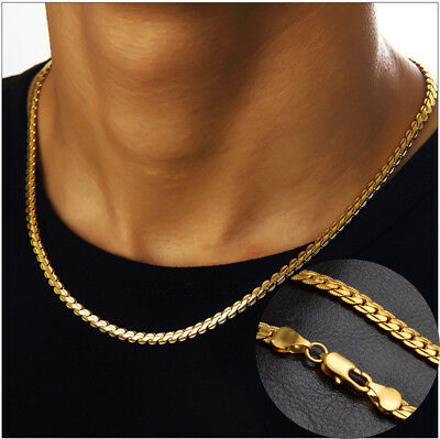 18K Gold Plated Chain Necklaces for Mens Kids Stainless Steel Curb Link Bracelet