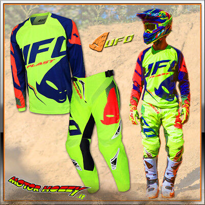 Completo Cross Enduro Made In Italy Ufo Sequence Giallo Fluo 2018 Taglia 52 - Xl