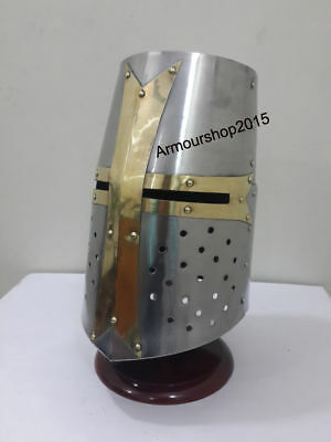 Sugarloaf Armour Helmet In Chrome Finish Medieval Costumes With Stand