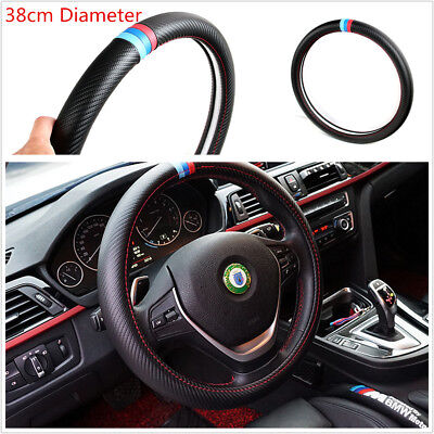 Durable Black 38cm Car Carbon Fiber Look PU Leather Steering Wheel Cover For BMW