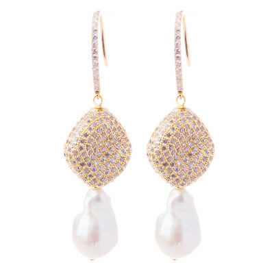 NEW Bowerhaus Pave Pearl Gold Earrings
