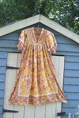 indian cotton gauze dress hippy festival ethnic s 8 10 6 4 70s style boho india