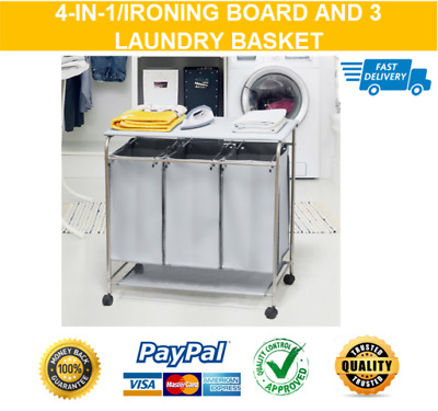 New Ironing Board with Laundry Basket Home Portable Movable Heavy Duty Stainless