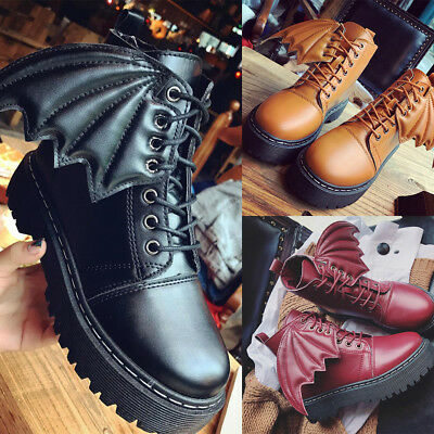 New Women Bat wing Creepers Chunky Cleated Platform Goth Punk Ankle Boots Shoes