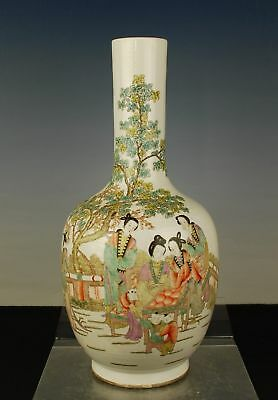 China antique Qianjiang polychrome vase eliza children signed circa early