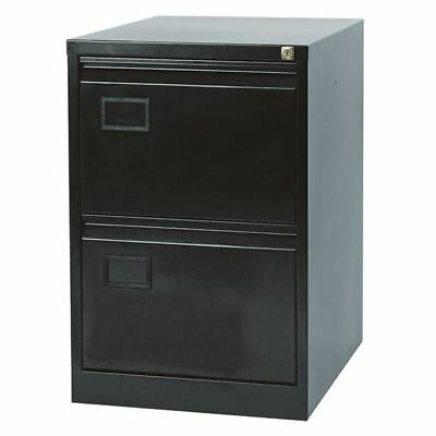 Jemini 2 Drawer Black Filing Cabinet, 470x622x711mm [KF72585]
