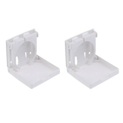 2Pcs Fold Up Adjustable White Cup Drink Holders Boat Marine RV Trailer Car