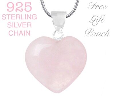 Pink Rose Quartz Crystal Heart Pendant 925 Sterling Silver Necklace + Gift Pouch