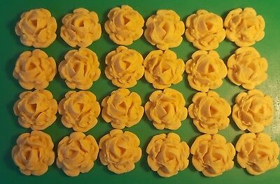 24 Edible Large Honey Gold roses flowers cupcake cake toppers decoration wedding