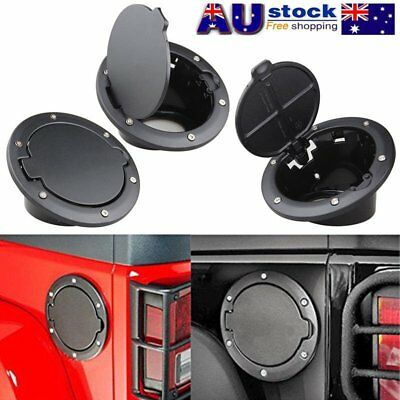 Black Fuel Filler Door Cover Gas Tank Cap For 07-17 Jeep Wrangler AU