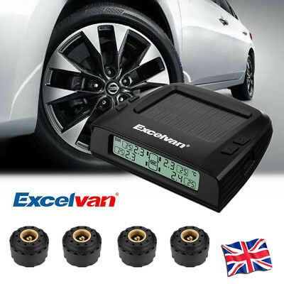 Excelvan Wireless Solar TPMS Tire Pressure Monitor System with 4 External Sensor