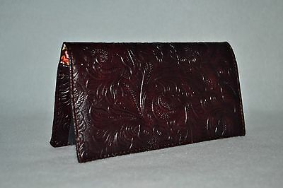 Checkbook Cover w-Copy Panel or Coupon Holder~Handmade~Tooled Faux Leather