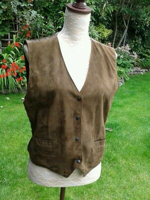 Vintage light brown suede waistcoat satin fabric back & lining