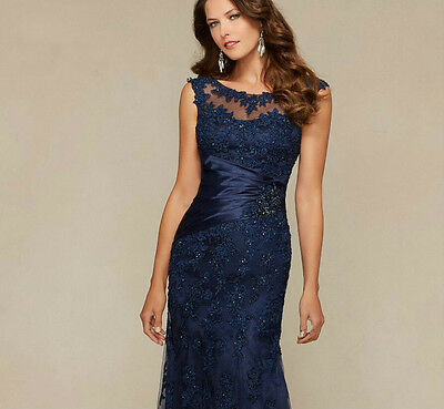 Navy Long Lace Evening Formal Ball Gown Sheath Pageant Mother Of the Bride Dress