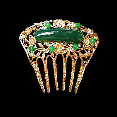 Beautiful Carved 3D Lacy Green Agate Fan Style Golden Hair Comb