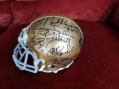 """ ONE OF A KIND "" 6 Coaches/17 Signatures Notre Dame Multi Signed Mini Helmet"