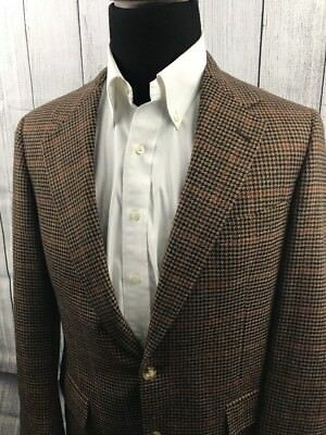 Men's Brooks Brothers Brown Houndstooth Windowpane 2-Button Sports Jacket 39R