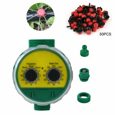 Water Timer Garden Plant Automatic Watering Irrigation System + 50Pc Dripper