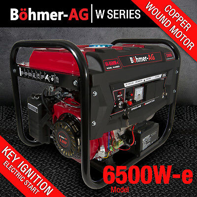 Generator 6500W-e 8HP Petrol 2.8KVA 4 Stroke - Low Noise - ELECTRIC KEY START