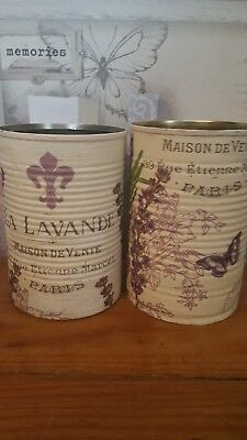 Shabby Chic Upcycled French Lavender Theme Tin Cans