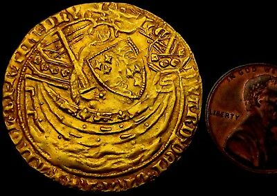 Edward III Hammered Gold Nobel - series G (S.1490) - old ticket (WMH-6441)