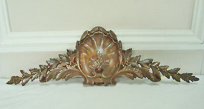 Antique French Pediment Furniture Mount Bronze Rococo Shell Berry 17.7 Inches