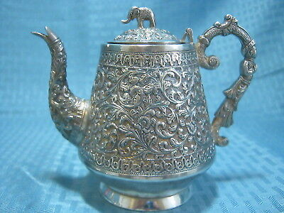 Antique Indian Kutch Sterling Silver Teapot Figural Handle 394 grams ca.1890