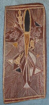 Old Rare Aboriginal Australian Bark Painting - From Outback Station Decades Ago