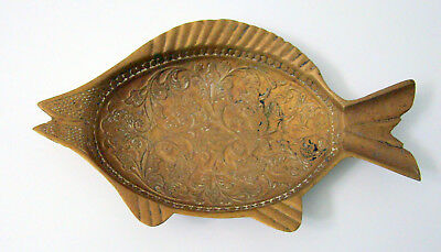 Vintage India Brass Fish Shape Dish 1880's-90's Engraved Flowers Leaves Nature