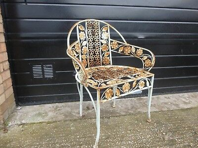 Vintage Wrought Iron Metamorphic Folding Back Garden Chair