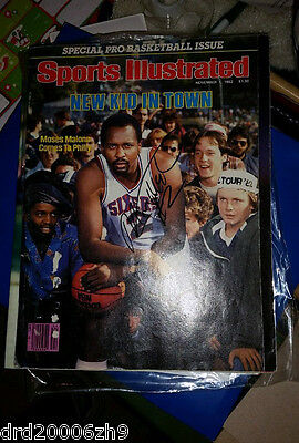 Moses Malone Signed Autographed Sports Illustrated Magazine JSA Lot Letter