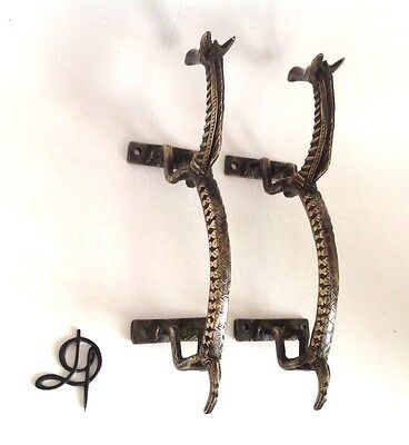 Vintage Antique Style Horse Solid Brass Pair Of Door Handles Pulls