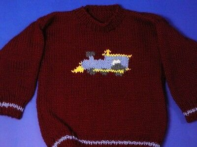 Handmade Knit Red with Blue Train Sweater Boys Size 4