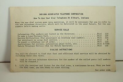 Vintage Instructions On How To Use Your Dial Telephone- Elkhart IN-Free Shipping