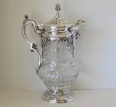 Sterling Silver & Fine Cut Crystal Hand Chased Balagio Wine Decanter 10531-0585